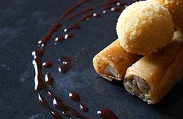 Croustillant de canard et sa croquette d'haricot blanc