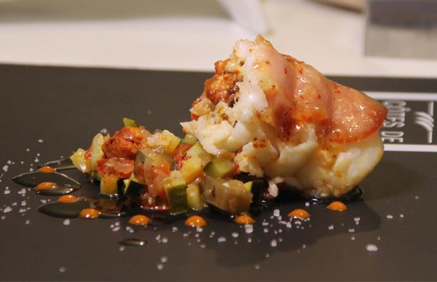 Dos de cabillaud lardé au chorizo sur compotée de fenouil