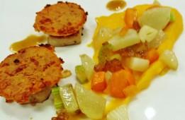 Filet mignon basse température, croûte de chorizo et légumes étuvés