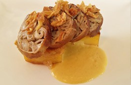 Andouillette rôtie et pommes fondantes, Sauce à la mangue
